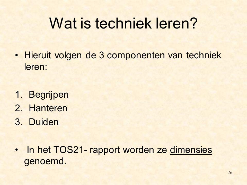 Wat is techniek leren? Hieruit volgen de 3 componenten van techniek leren: 1.Begrijpen 2.Hanteren 3.Duiden In het TOS21- rapport worden ze dimensies g