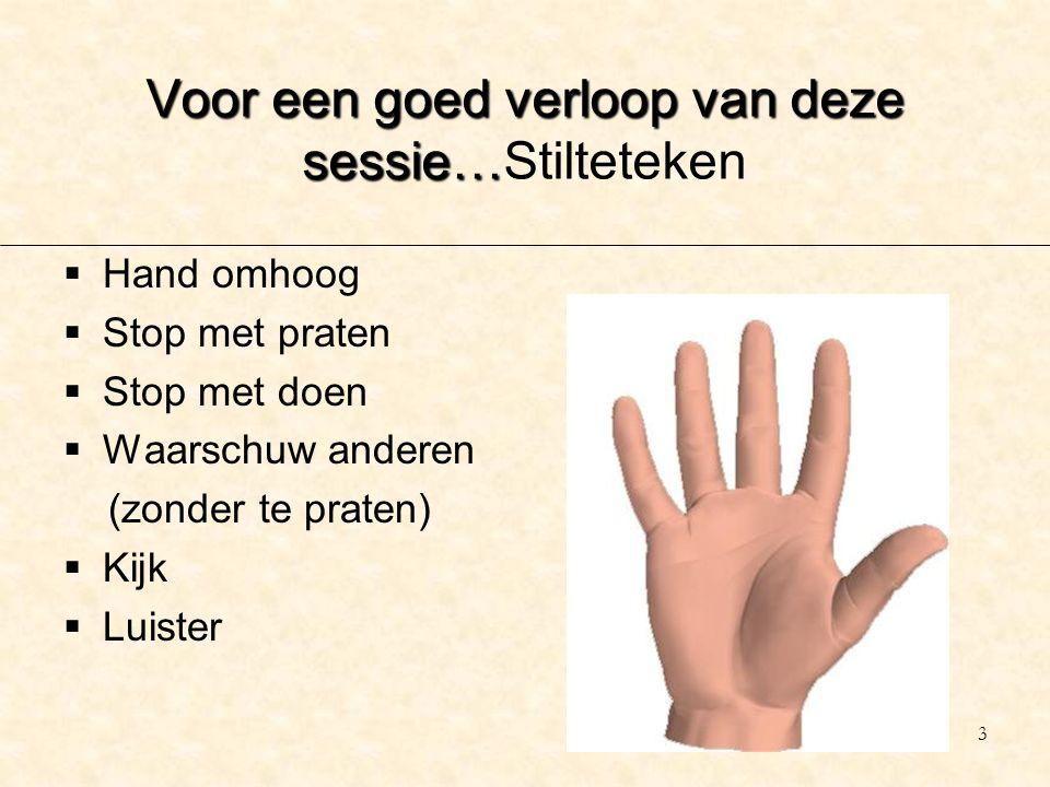 3 Voor een goed verloop van deze sessie… Voor een goed verloop van deze sessie…Stilteteken  Hand omhoog  Stop met praten  Stop met doen  Waarschuw