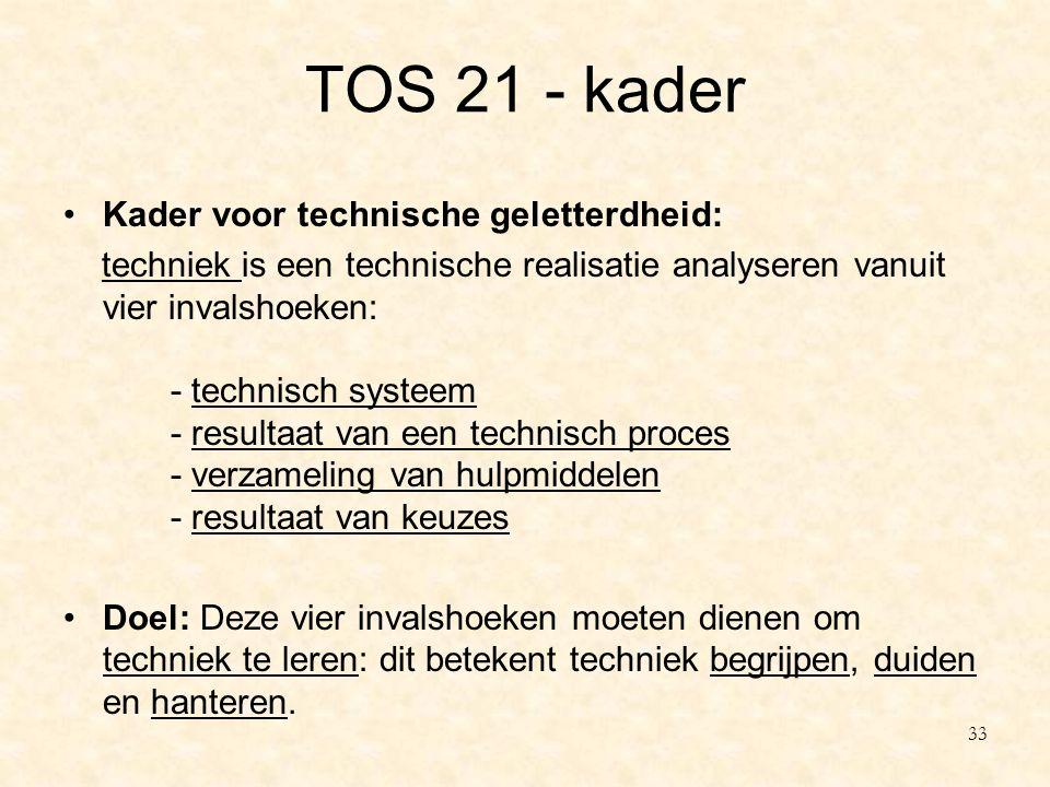 TOS 21 - kader Kader voor technische geletterdheid: techniek is een technische realisatie analyseren vanuit vier invalshoeken: - technisch systeem - r