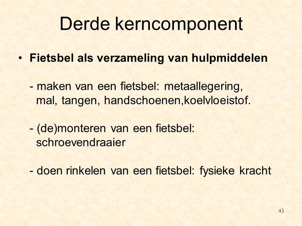 Derde kerncomponent Fietsbel als verzameling van hulpmiddelen - maken van een fietsbel: metaallegering, mal, tangen, handschoenen,koelvloeistof. - (de