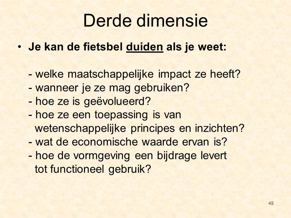 Derde dimensie Je kan de fietsbel duiden als je weet: - welke maatschappelijke impact ze heeft? - wanneer je ze mag gebruiken? - hoe ze is geëvolueerd
