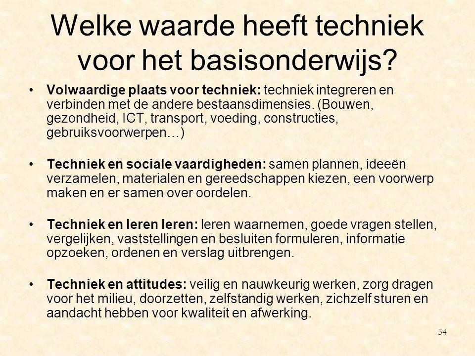 Welke waarde heeft techniek voor het basisonderwijs? Volwaardige plaats voor techniek: techniek integreren en verbinden met de andere bestaansdimensie