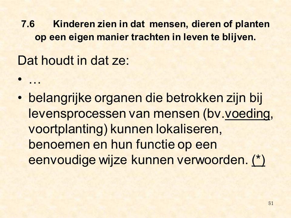 7.6 Kinderen zien in dat mensen, dieren of planten op een eigen manier trachten in leven te blijven. Dat houdt in dat ze: … belangrijke organen die be