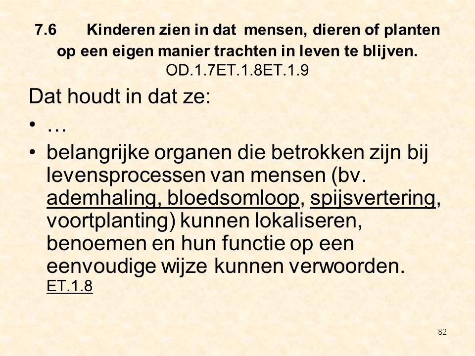 7.6 Kinderen zien in dat mensen, dieren of planten op een eigen manier trachten in leven te blijven. OD.1.7ET.1.8ET.1.9 Dat houdt in dat ze: … belangr