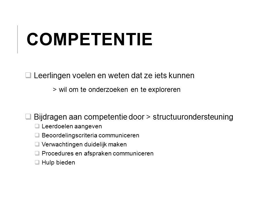 COMPETENTIE  Leerlingen voelen en weten dat ze iets kunnen > wil om te onderzoeken en te exploreren  Bijdragen aan competentie door > structuuronder
