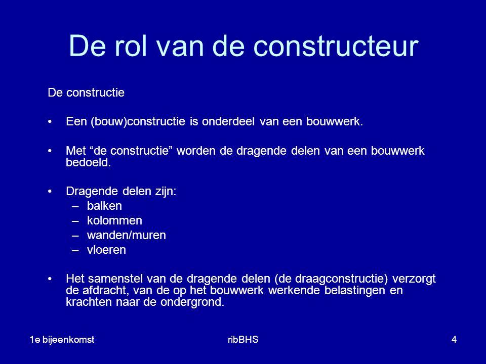 1e bijeenkomstribBHS4 De rol van de constructeur De constructie Een (bouw)constructie is onderdeel van een bouwwerk.