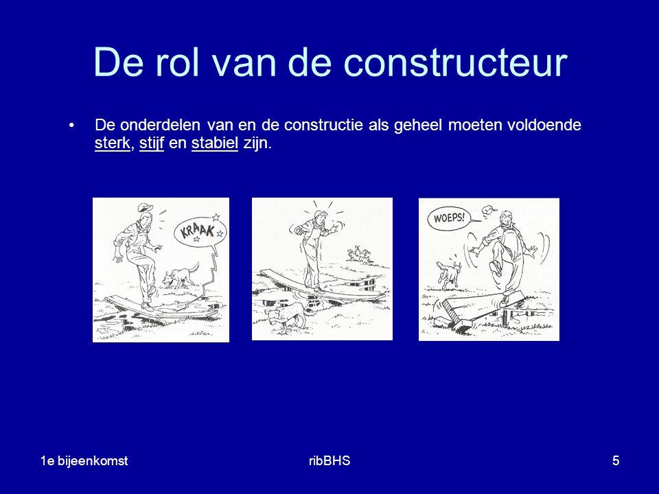 1e bijeenkomstribBHS6 Het ontwerpen en berekenen van constructies is de taak van de constructeur.