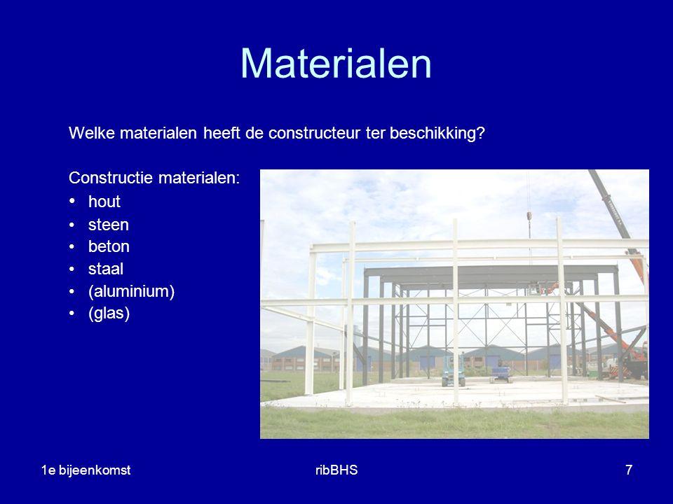1e bijeenkomstribBHS8 Ontwerpen Ontwerpen van een constructie materiaal keuze (waarom geen betonnen dak op het tuinhuisje?) (waarom geen houten kolommen onder hoogbouw?) (de architect denkt in staal, de constructeur in beton) (een funderingsbalk van staal, kan toch?) schematiseren (hoe wil ik dat de constructie werkt ?) globaal dimensioneren tekenen voorlopig constructief ontwerp stabiliteit (waar en hoe.