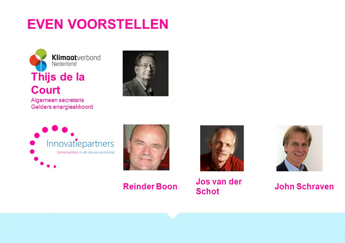 EVEN VOORSTELLEN Thijs de la Court Algemeen secretaris Gelders energieakkoord Jos van der Schot Reinder BoonJohn Schraven