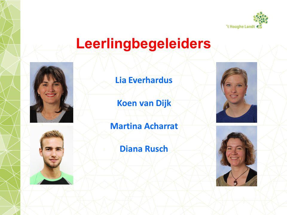 Leerlingbegeleiders Lia Everhardus Koen van Dijk Martina Acharrat Diana Rusch