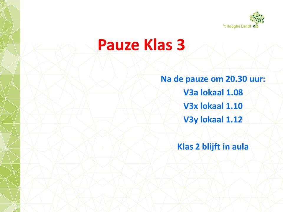 Pauze Klas 3 Na de pauze om 20.30 uur: V3a lokaal 1.08 V3x lokaal 1.10 V3y lokaal 1.12 Klas 2 blijft in aula