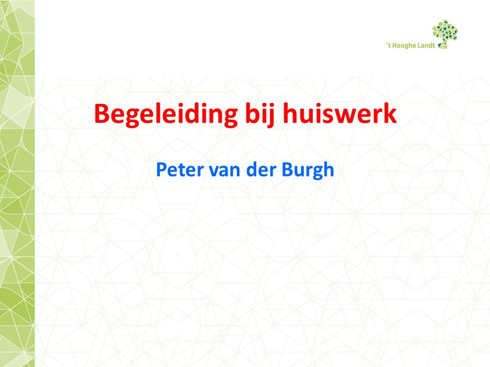 Begeleiding bij huiswerk Peter van der Burgh