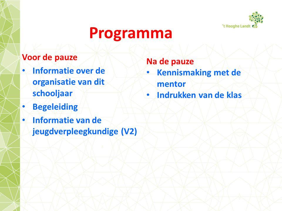 Programma Voor de pauze Informatie over de organisatie van dit schooljaar Begeleiding Informatie van de jeugdverpleegkundige (V2) Na de pauze Kennismaking met de mentor Indrukken van de klas