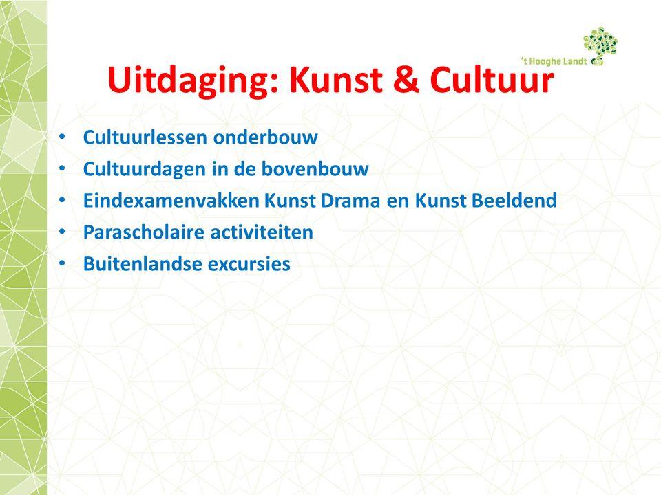 Uitdaging: Kunst & Cultuur Cultuurlessen onderbouw Cultuurdagen in de bovenbouw Eindexamenvakken Kunst Drama en Kunst Beeldend Parascholaire activiteiten Buitenlandse excursies