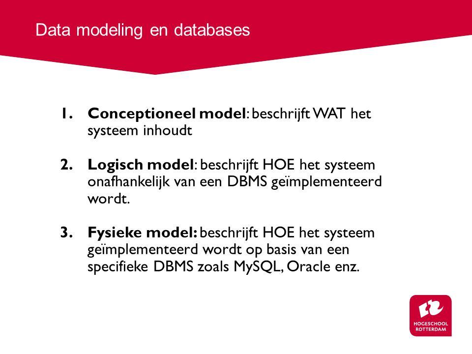 Data modeling en databases 1.Conceptioneel model: beschrijft WAT het systeem inhoudt 2.Logisch model: beschrijft HOE het systeem onafhankelijk van een DBMS geïmplementeerd wordt.