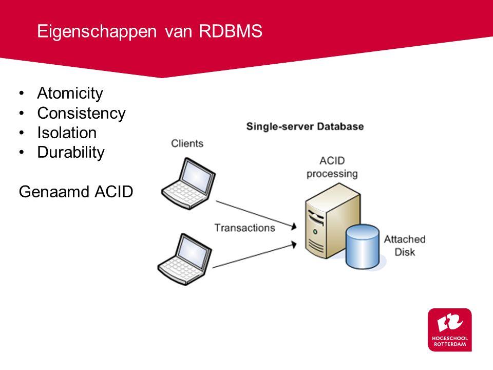 Eigenschappen van RDBMS Atomicity Consistency Isolation Durability Genaamd ACID