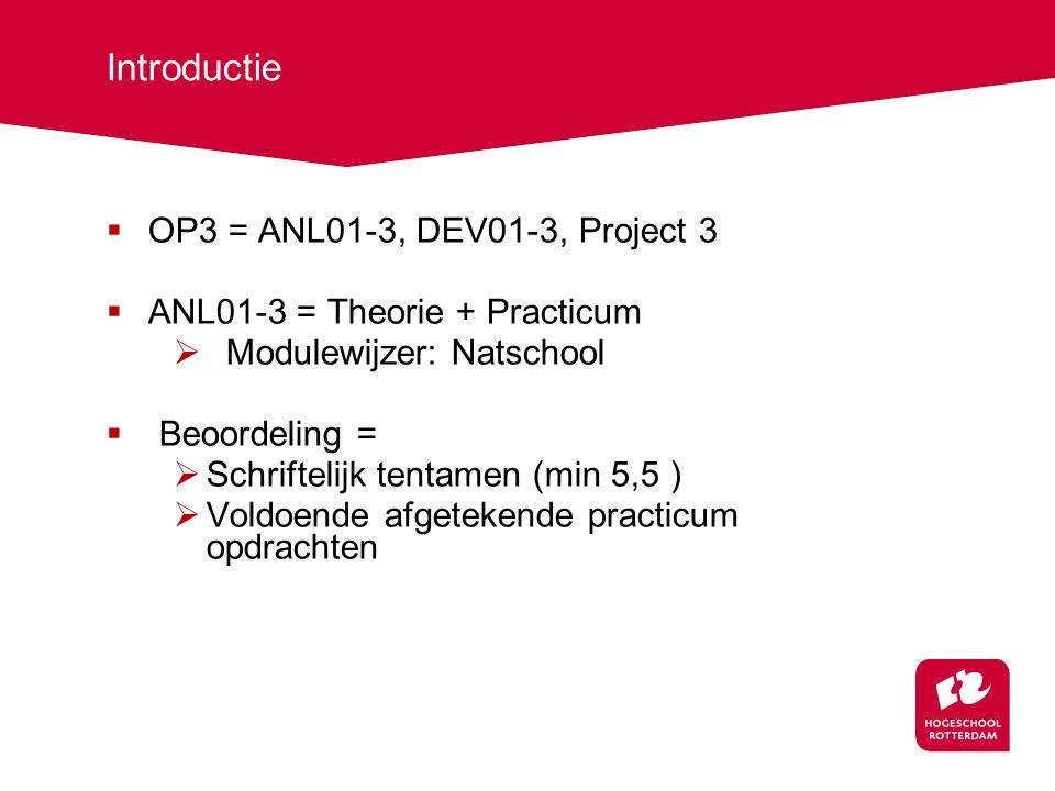 Introductie  OP3 = ANL01-3, DEV01-3, Project 3  ANL01-3 = Theorie + Practicum  Modulewijzer: Natschool  Beoordeling =  Schriftelijk tentamen (min 5,5 )  Voldoende afgetekende practicum opdrachten
