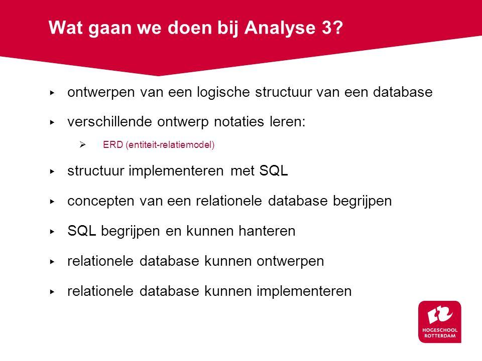 Wat gaan we doen bij Analyse 3.