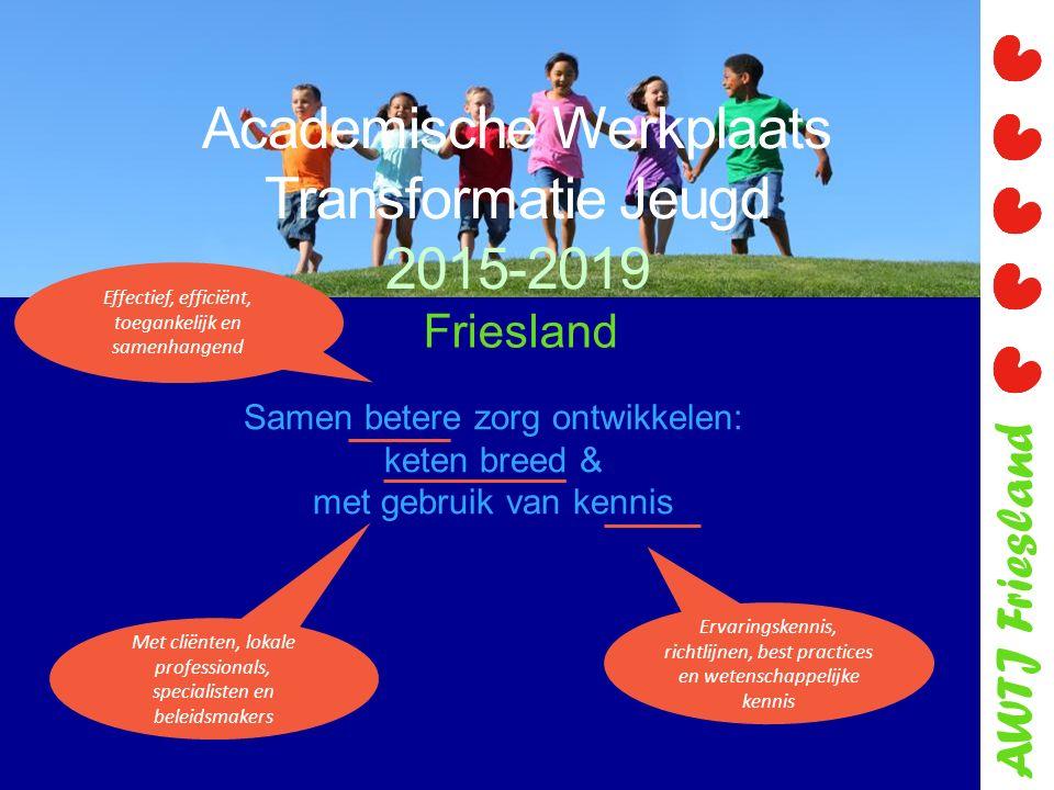 AWTJ Friesland Academische Werkplaats Transformatie Jeugd 2015-2019 Samen betere zorg ontwikkelen: keten breed & met gebruik van kennis Ervaringskenni