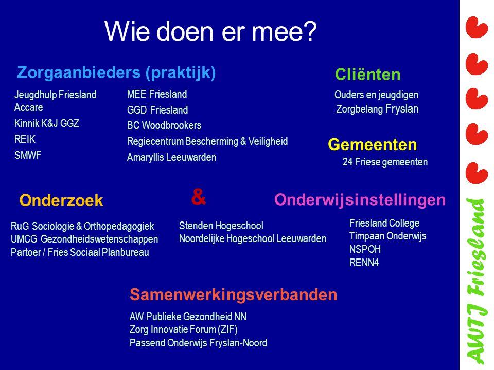 AWTJ Friesland Onderwijsinstellingen Wie doen er mee? Jeugdhulp Friesland Accare Kinnik K&J GGZ REIK SMWF Zorgaanbieders (praktijk) Friesland College