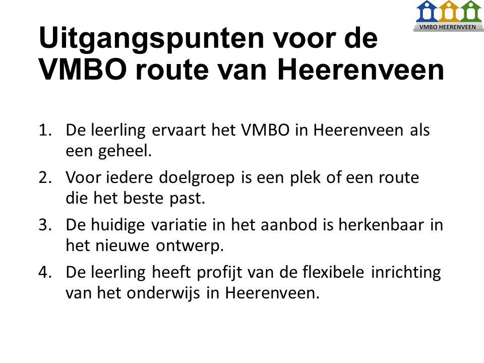 Uitgangspunten voor de VMBO route van Heerenveen 1.De leerling ervaart het VMBO in Heerenveen als een geheel.
