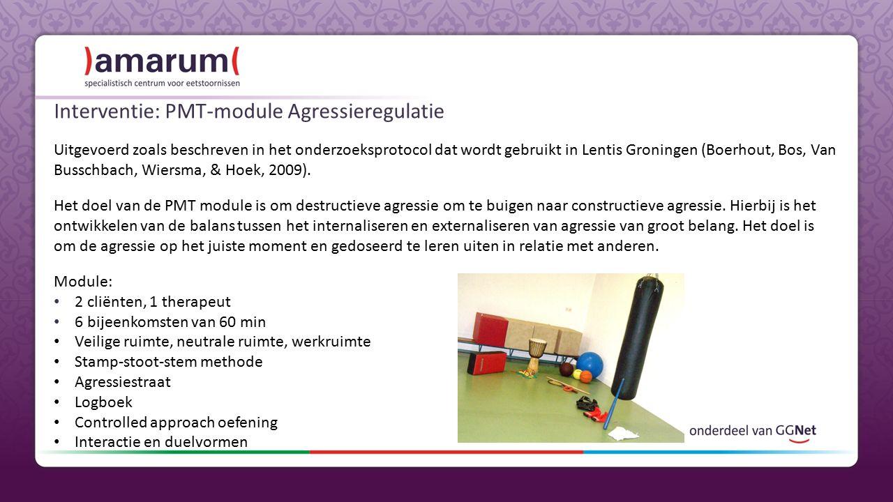 Interventie: PMT-module Agressieregulatie Uitgevoerd zoals beschreven in het onderzoeksprotocol dat wordt gebruikt in Lentis Groningen (Boerhout, Bos, Van Busschbach, Wiersma, & Hoek, 2009).