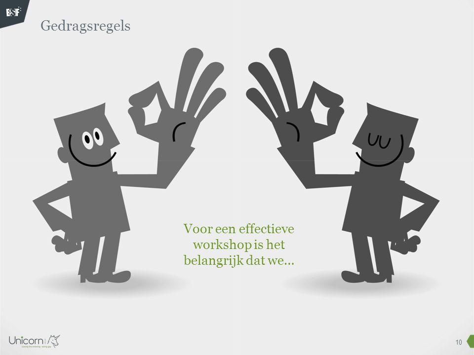 10 Gedragsregels Voor een effectieve workshop is het belangrijk dat we…
