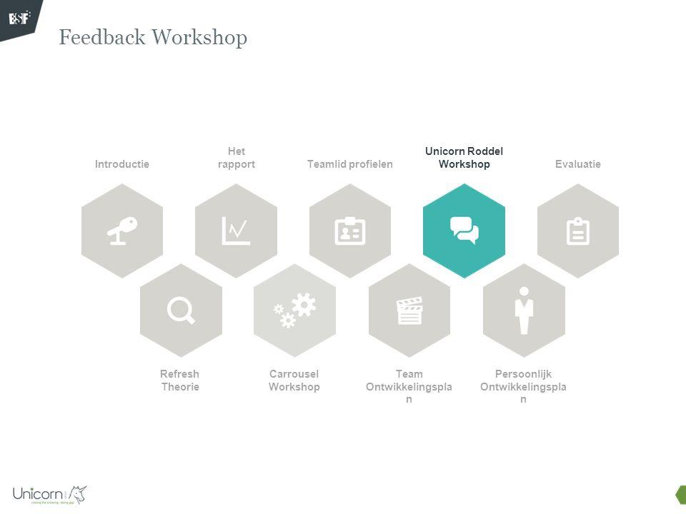 Feedback Workshop Introductie Refresh Theorie Het rapport Carrousel Workshop Teamlid profielen Unicorn Roddel Workshop Team Ontwikkelingspla n Evaluat