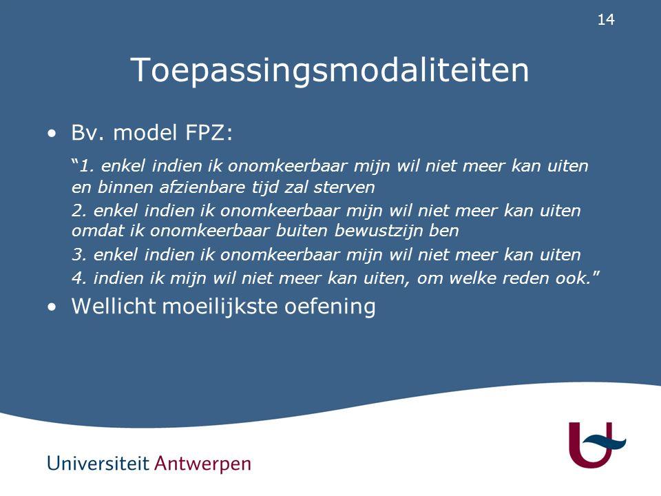 14 Toepassingsmodaliteiten Bv.model FPZ: 1.