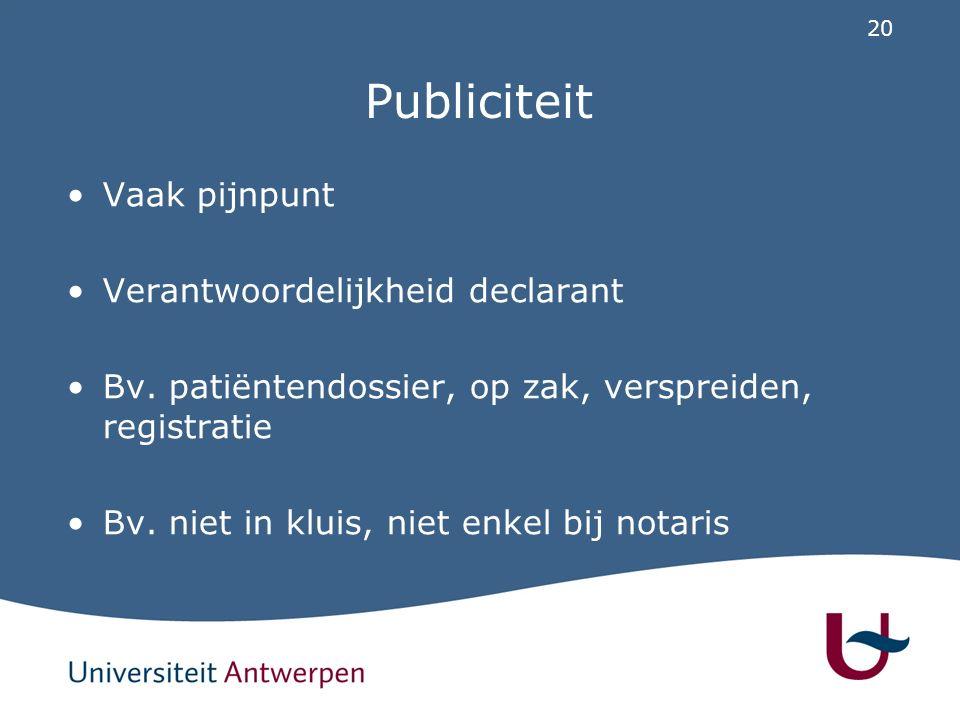 20 Publiciteit Vaak pijnpunt Verantwoordelijkheid declarant Bv. patiëntendossier, op zak, verspreiden, registratie Bv. niet in kluis, niet enkel bij n
