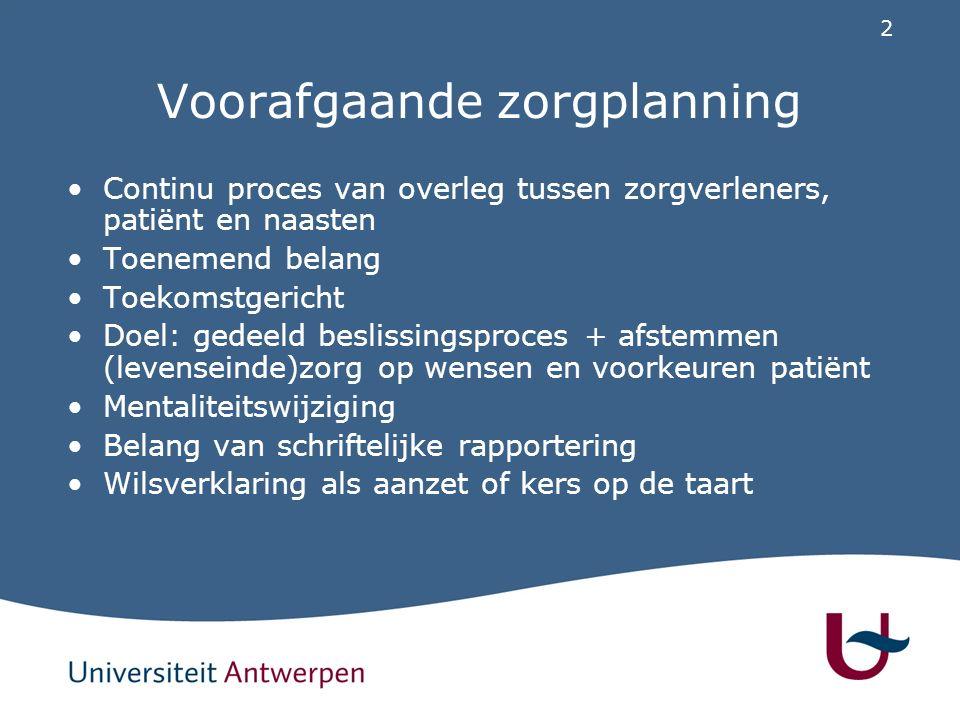2 Voorafgaande zorgplanning Continu proces van overleg tussen zorgverleners, patiënt en naasten Toenemend belang Toekomstgericht Doel: gedeeld besliss