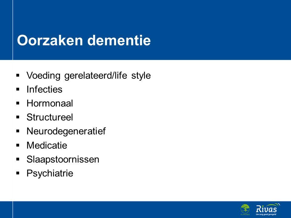  Voeding gerelateerd/life style  Infecties  Hormonaal  Structureel  Neurodegeneratief  Medicatie  Slaapstoornissen  Psychiatrie Oorzaken demen