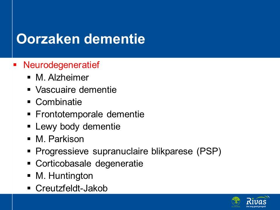  Neurodegeneratief  M. Alzheimer  Vascuaire dementie  Combinatie  Frontotemporale dementie  Lewy body dementie  M. Parkison  Progressieve supr