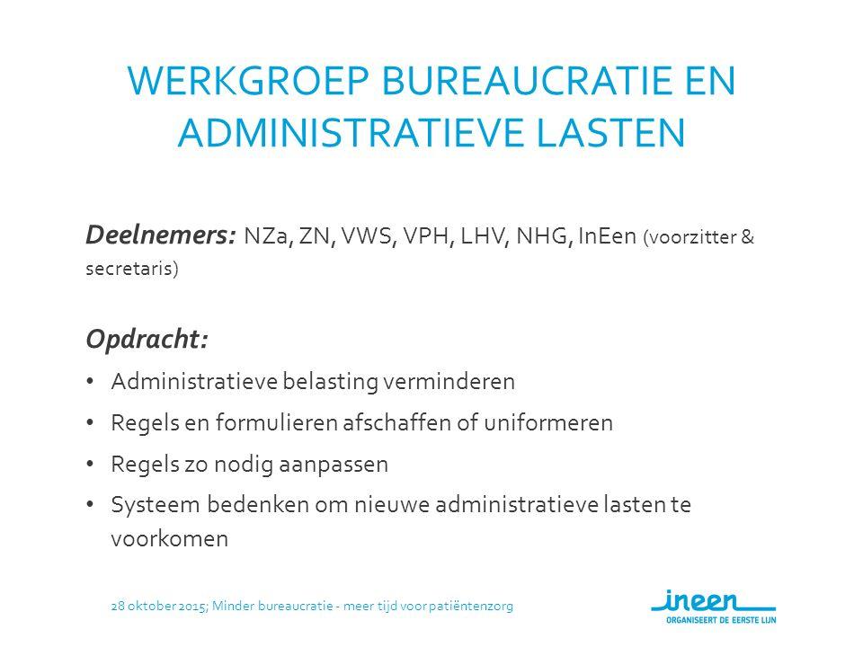 AANPAK 1.Wekelijkse bijeenkomsten 2.Basisdocument: groslijst van aansprekende voorbeelden 3.Wat is ieders perspectief op bureaucratie en administratieve lasten.
