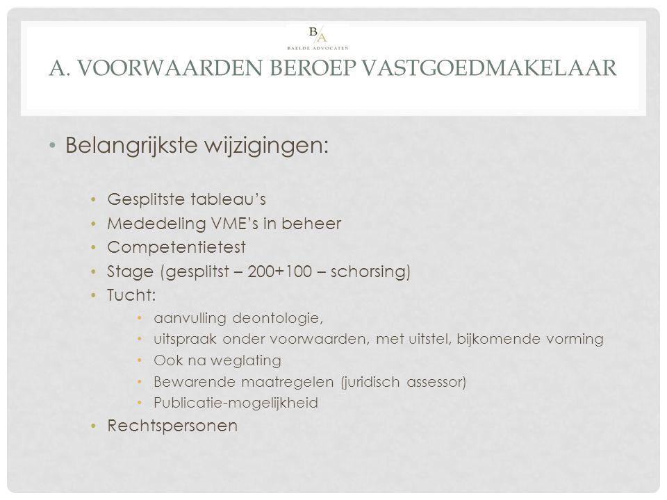 A. VOORWAARDEN BEROEP VASTGOEDMAKELAAR Belangrijkste wijzigingen: Gesplitste tableau's Mededeling VME's in beheer Competentietest Stage (gesplitst – 2