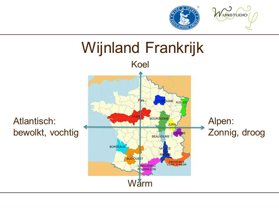 Wijnland Frankrijk Alpen: Zonnig, droog Atlantisch: bewolkt, vochtig Koel Warm
