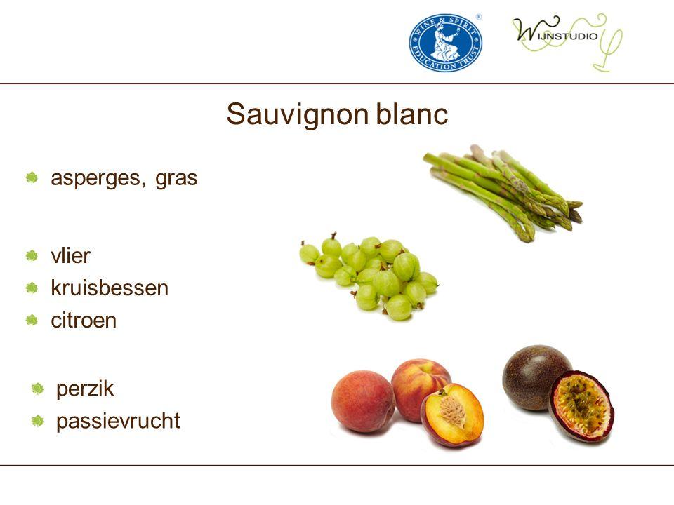 asperges, gras Sauvignon blanc vlier kruisbessen citroen perzik passievrucht