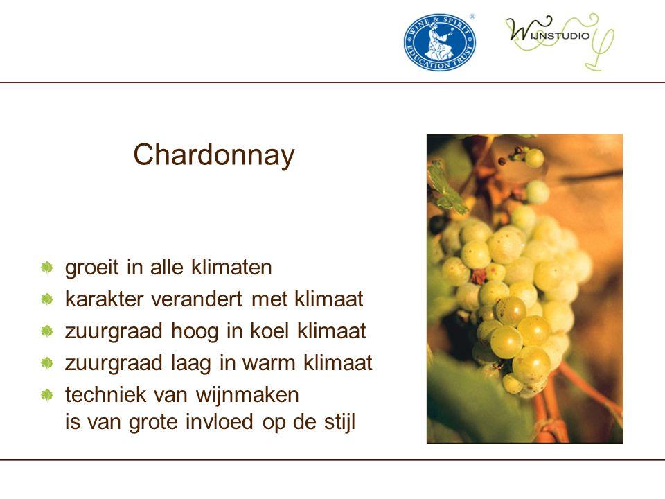 Chardonnay groeit in alle klimaten karakter verandert met klimaat zuurgraad hoog in koel klimaat zuurgraad laag in warm klimaat techniek van wijnmaken