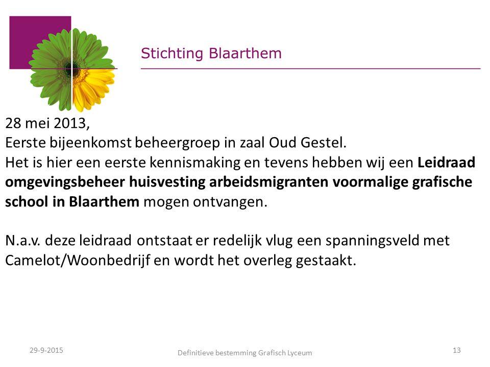 29-9-2015 Definitieve bestemming Grafisch Lyceum 13 28 mei 2013, Eerste bijeenkomst beheergroep in zaal Oud Gestel.