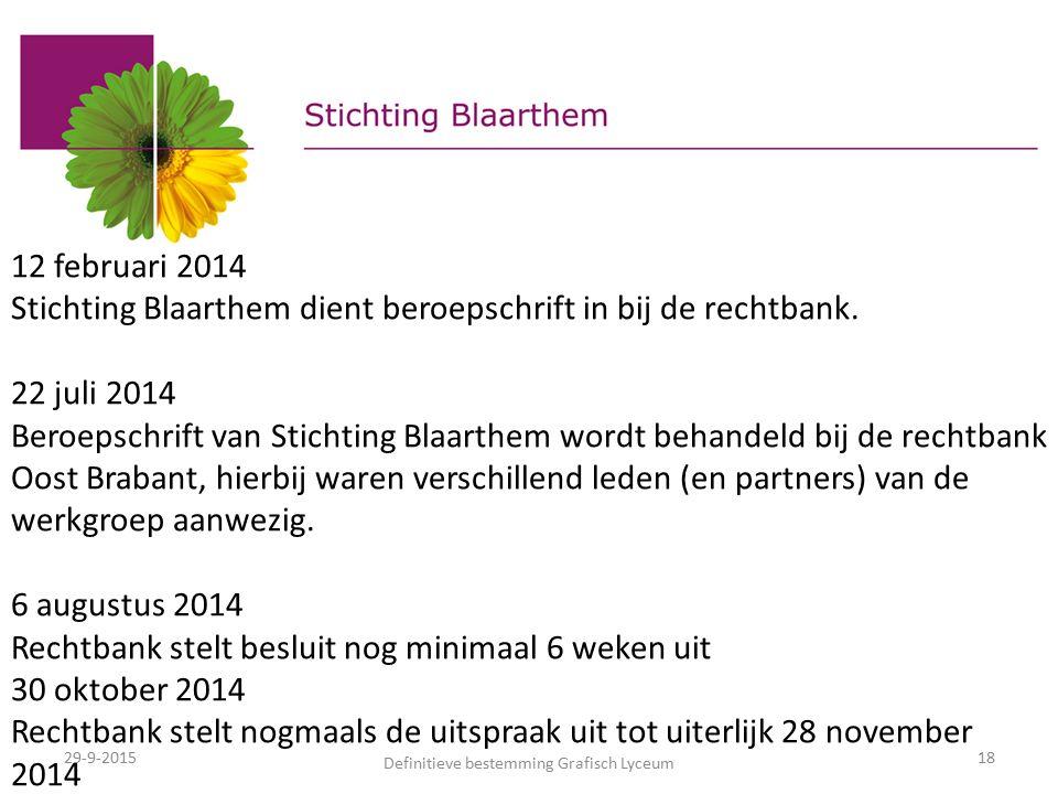 29-9-2015 Definitieve bestemming Grafisch Lyceum 18 12 februari 2014 Stichting Blaarthem dient beroepschrift in bij de rechtbank.