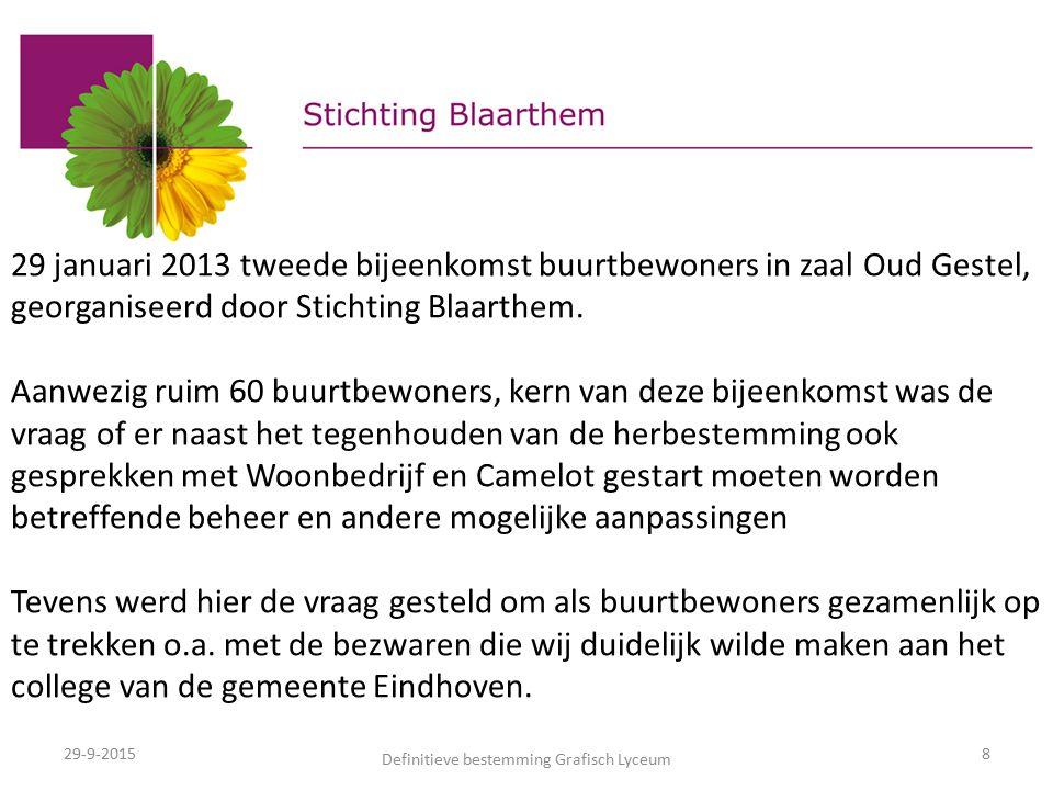 29-9-2015 Definitieve bestemming Grafisch Lyceum 8 29 januari 2013 tweede bijeenkomst buurtbewoners in zaal Oud Gestel, georganiseerd door Stichting Blaarthem.