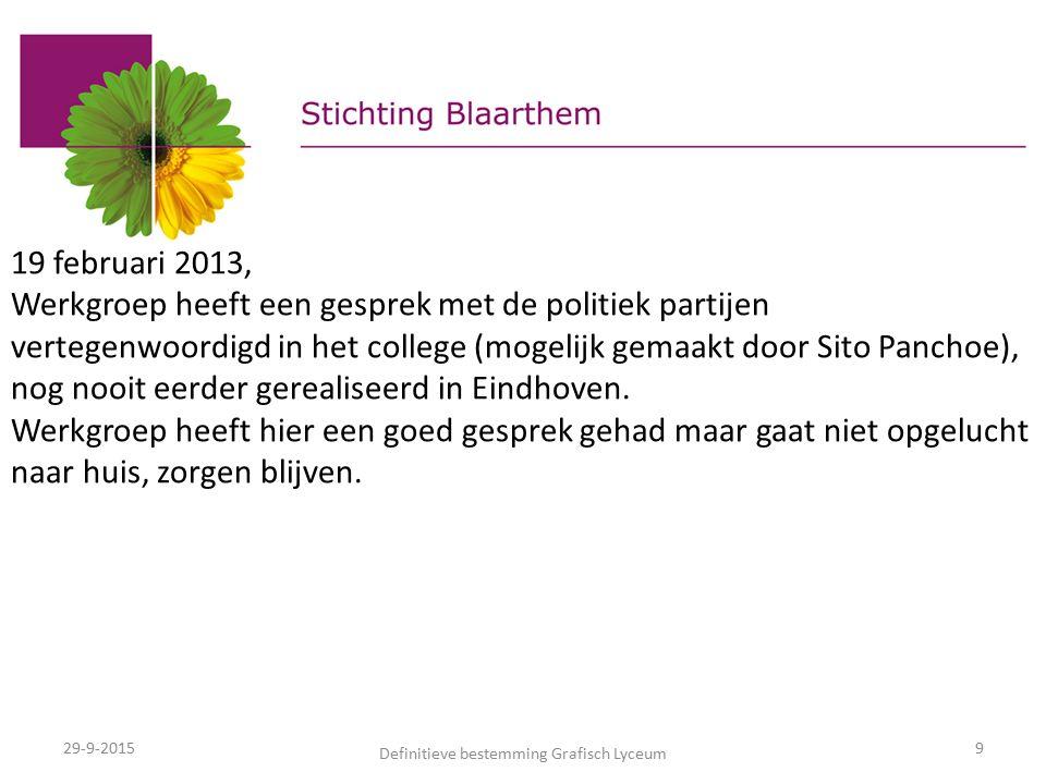 29-9-2015 Definitieve bestemming Grafisch Lyceum 9 19 februari 2013, Werkgroep heeft een gesprek met de politiek partijen vertegenwoordigd in het college (mogelijk gemaakt door Sito Panchoe), nog nooit eerder gerealiseerd in Eindhoven.
