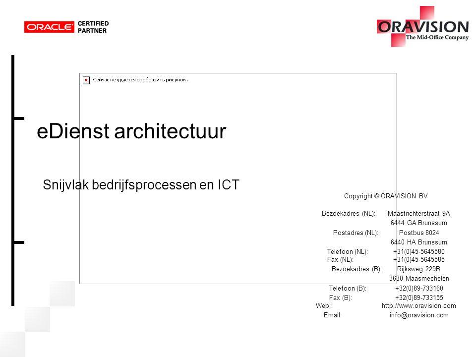 eDienst architectuur Snijvlak bedrijfsprocessen en ICT Copyright © ORAVISION BV Bezoekadres (NL): Maastrichterstraat 9A 6444 GA Brunssum Postadres (NL