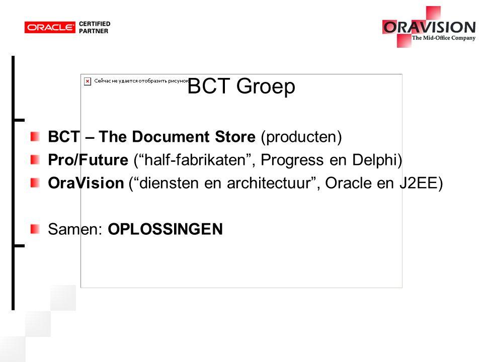 BCT Groep Samen: 150 personen Actief in: België (Vlaams Economisch Verbond, Gemeente Overpelt, Ministerie van Brussels Hoofdstedelijk Gewest) Nederland (Gemeente Nijmegen, Ministerie van VROM, Provincie Drenthe, Raden van Rechtsbijstand, KvK Rotterdam, ongeveer 160 gemeenten waarvan 50% op Oracle) Maar ook Duitsland, Oostenrijk, Zwitserland, …