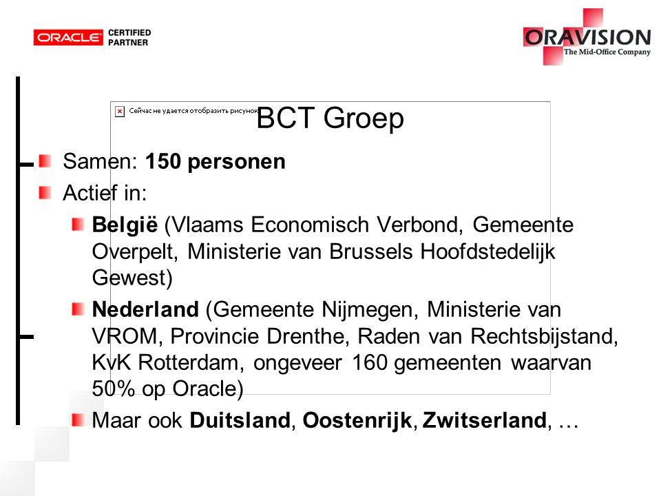 BCT Groep Samen: 150 personen Actief in: België (Vlaams Economisch Verbond, Gemeente Overpelt, Ministerie van Brussels Hoofdstedelijk Gewest) Nederlan