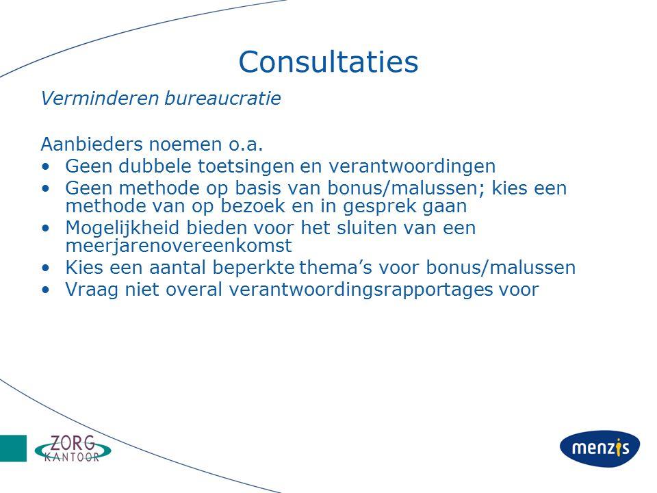 Consultaties Verminderen bureaucratie Aanbieders noemen o.a.