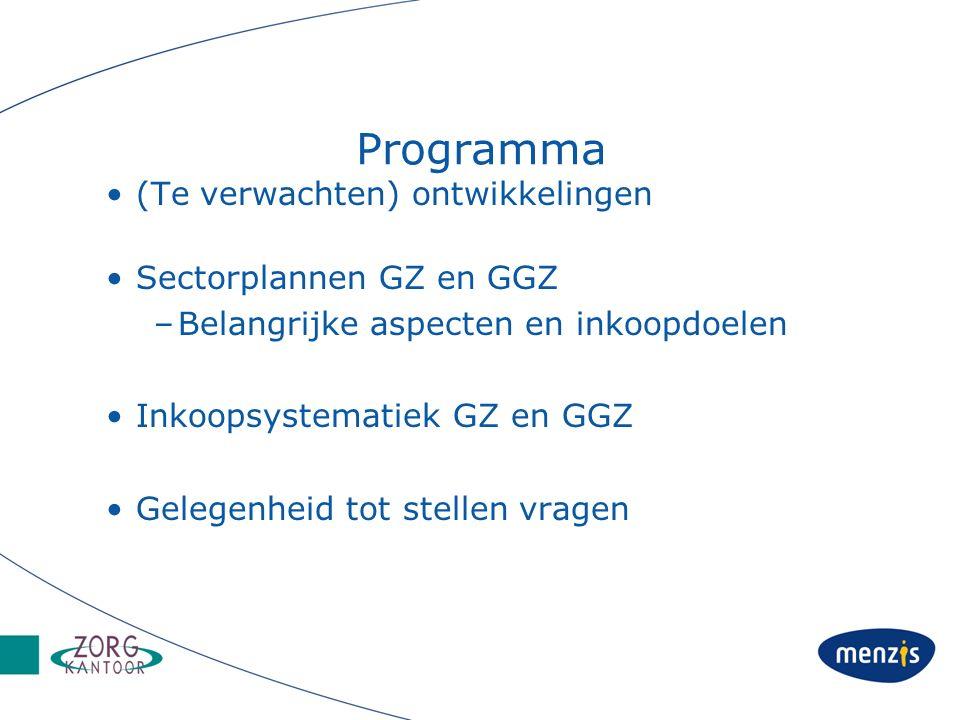 Programma (Te verwachten) ontwikkelingen Sectorplannen GZ en GGZ –Belangrijke aspecten en inkoopdoelen Inkoopsystematiek GZ en GGZ Gelegenheid tot stellen vragen