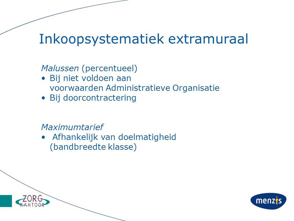 Inkoopsystematiek extramuraal Malussen (percentueel) Bij niet voldoen aan voorwaarden Administratieve Organisatie Bij doorcontractering Maximumtarief Afhankelijk van doelmatigheid (bandbreedte klasse)