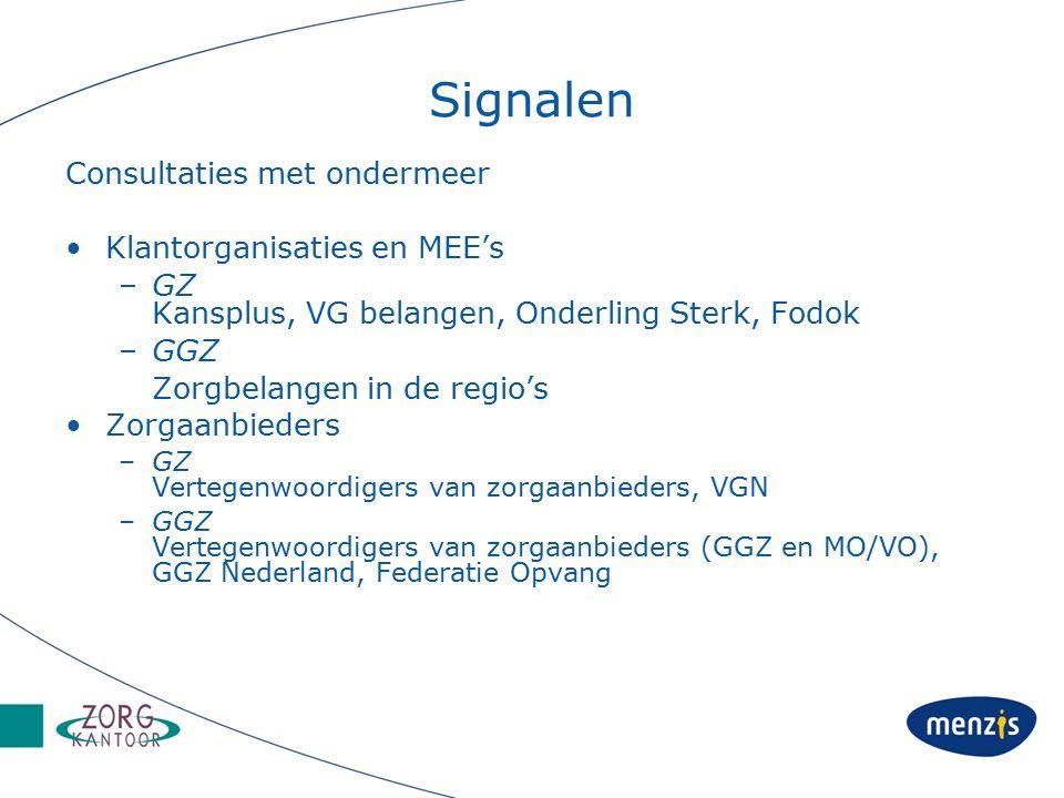 Signalen Consultaties met ondermeer Klantorganisaties en MEE's –GZ Kansplus, VG belangen, Onderling Sterk, Fodok –GGZ Zorgbelangen in de regio's Zorgaanbieders –GZ Vertegenwoordigers van zorgaanbieders, VGN –GGZ Vertegenwoordigers van zorgaanbieders (GGZ en MO/VO), GGZ Nederland, Federatie Opvang