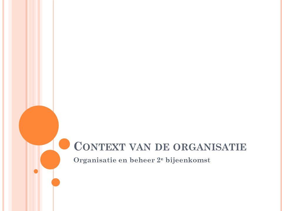 C ONTEXT VAN DE ORGANISATIE Organisatie en beheer 2 e bijeenkomst